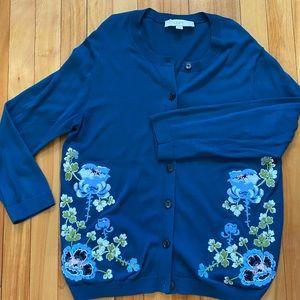 Loft Embroidered Floral Cardigan Teal M